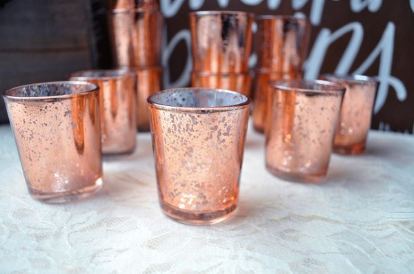 "Set Of Twelve Rose Gold Mercury Glass CandleHolders, $27, <a href=""https://www.etsy.com/listing/482554147/set-of-12-lig"