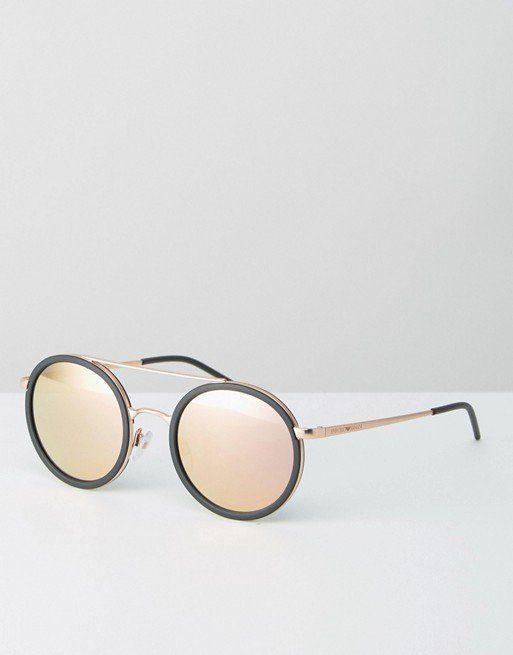 """Emporio Armani Rose Gold Sunglasses, $262, <a href=""""http://us.asos.com/emporio-armani/emporio-armani-round-sunglasses-with-br"""