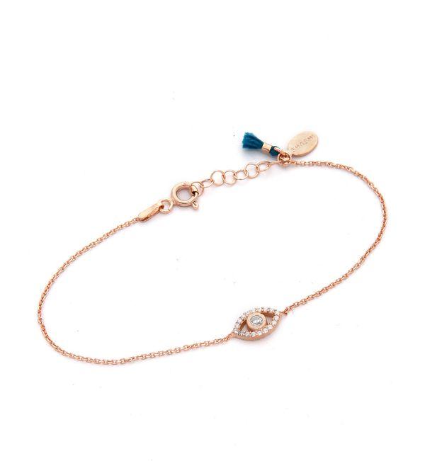 "Shashi Rose Gold Evil Eye Bracelet, $54, <a href=""https://www.shopbop.com/evil-eye-bracelet-shashi/vp/v=1/1517106858.htm?fm=s"