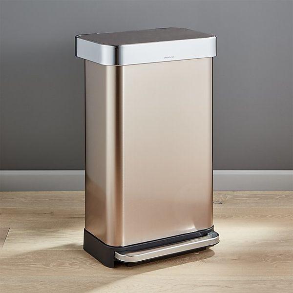 "SimplehumanRose Gold Rectangular Step Can, $129.99, <a href=""http://www.crateandbarrel.com/simplehuman-45-liter-12-gall"