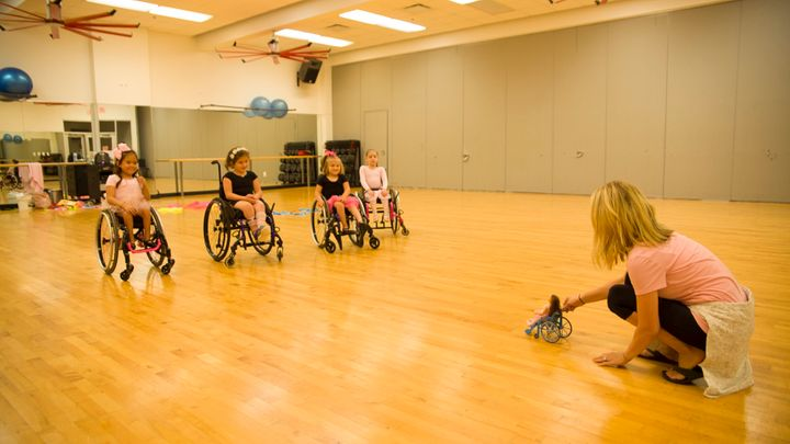 Lamm's team shared the prototype wheelchair toy to students at Ayita Dance Studio in Texas.