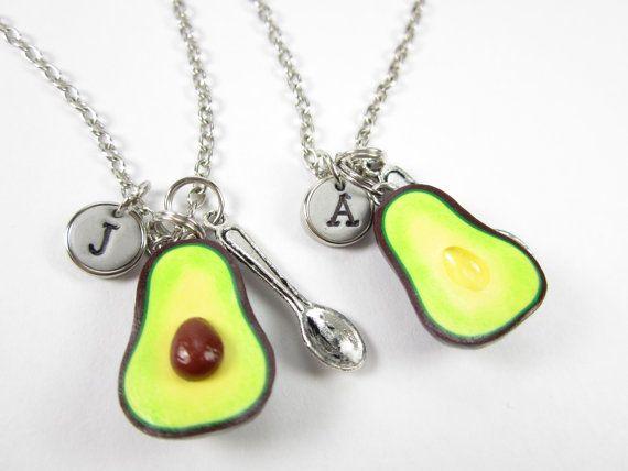 "$16.00, Etsy. <a href=""https://www.etsy.com/listing/481840421/avocado-initial-necklace-2pcs?utm_source=google&utm_medium="