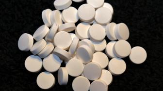Pile of white colored medication
