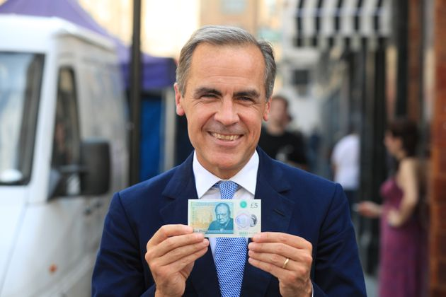 Bank of England Governor Mark Carney with the new polymer