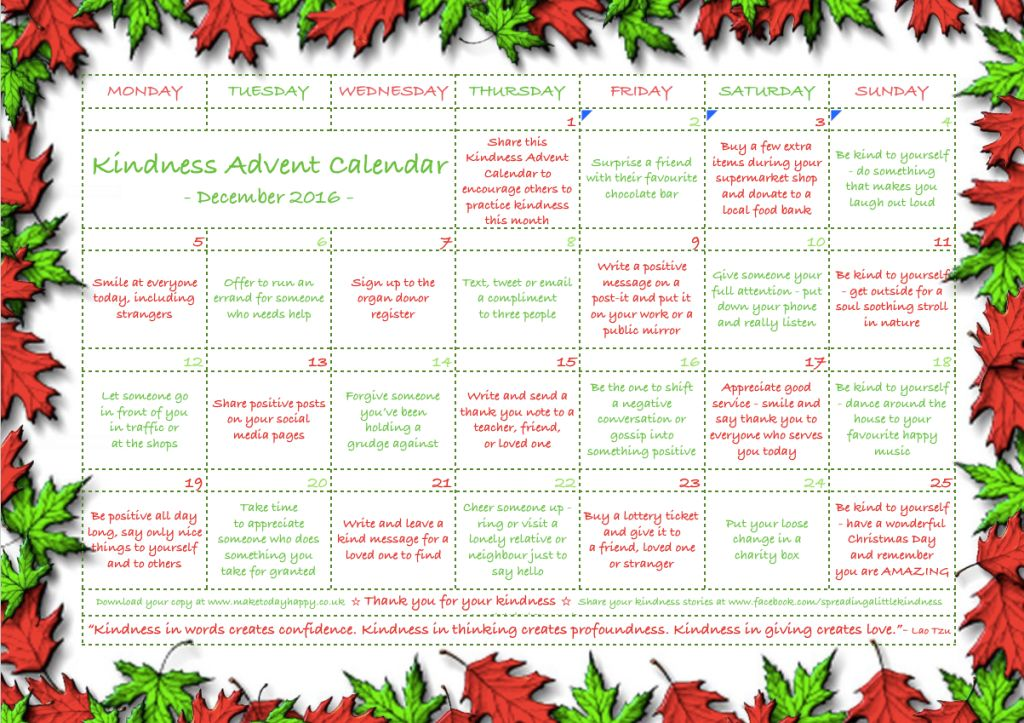 The Kindness Advent Calendar | HuffPost