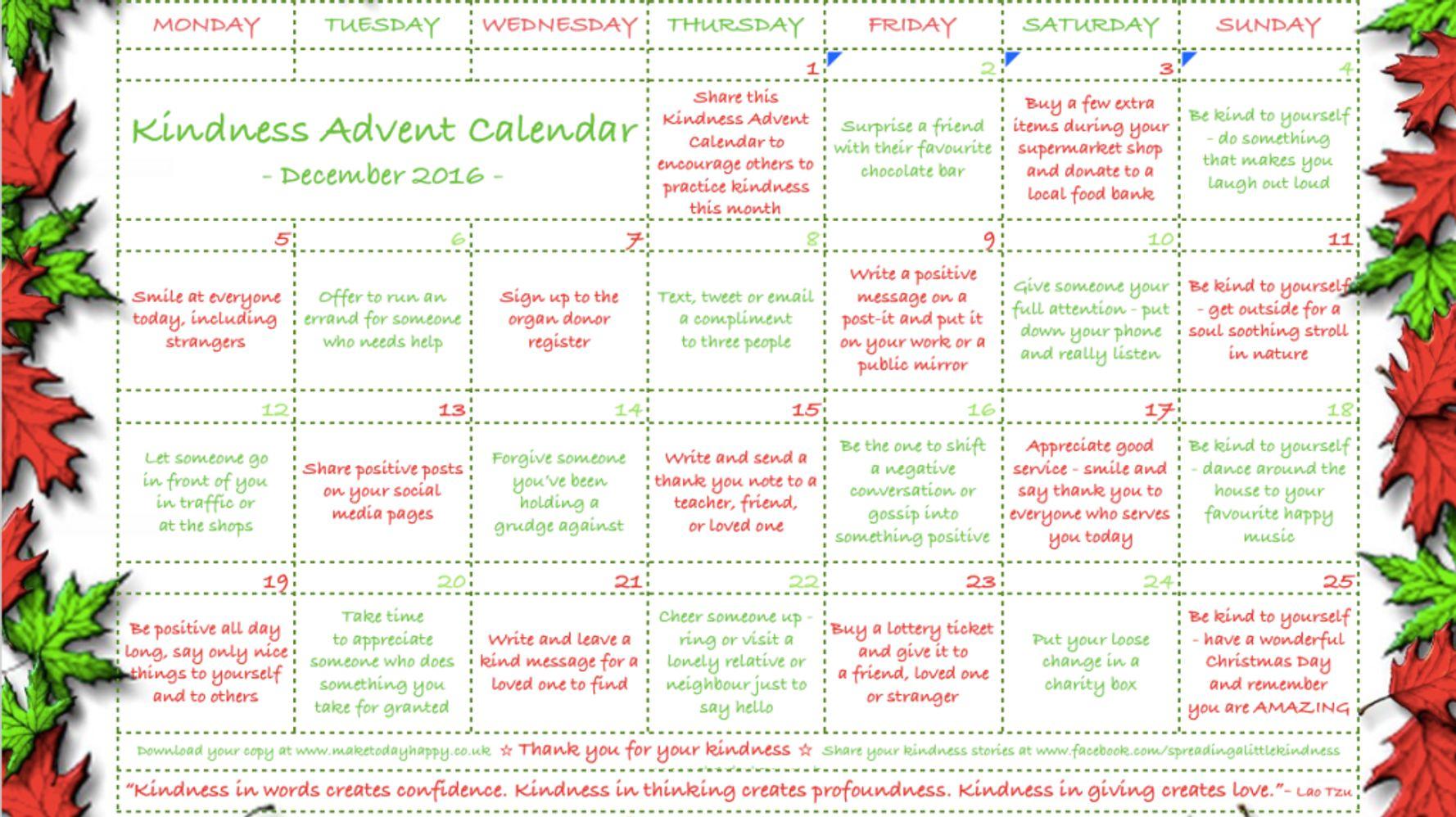 The Kindness Advent Calendar | HuffPost