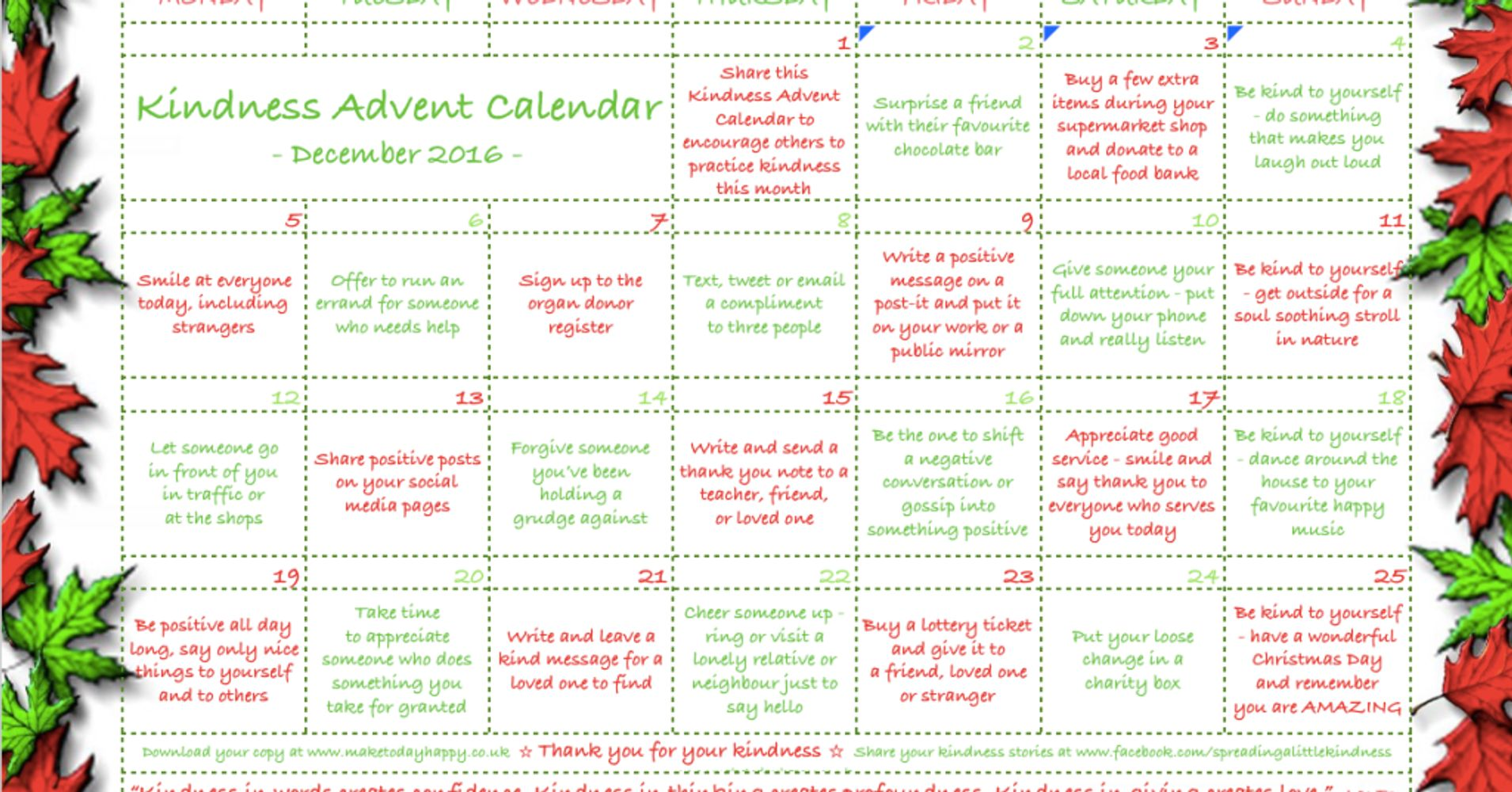 The kindness advent calendar huffpost solutioingenieria