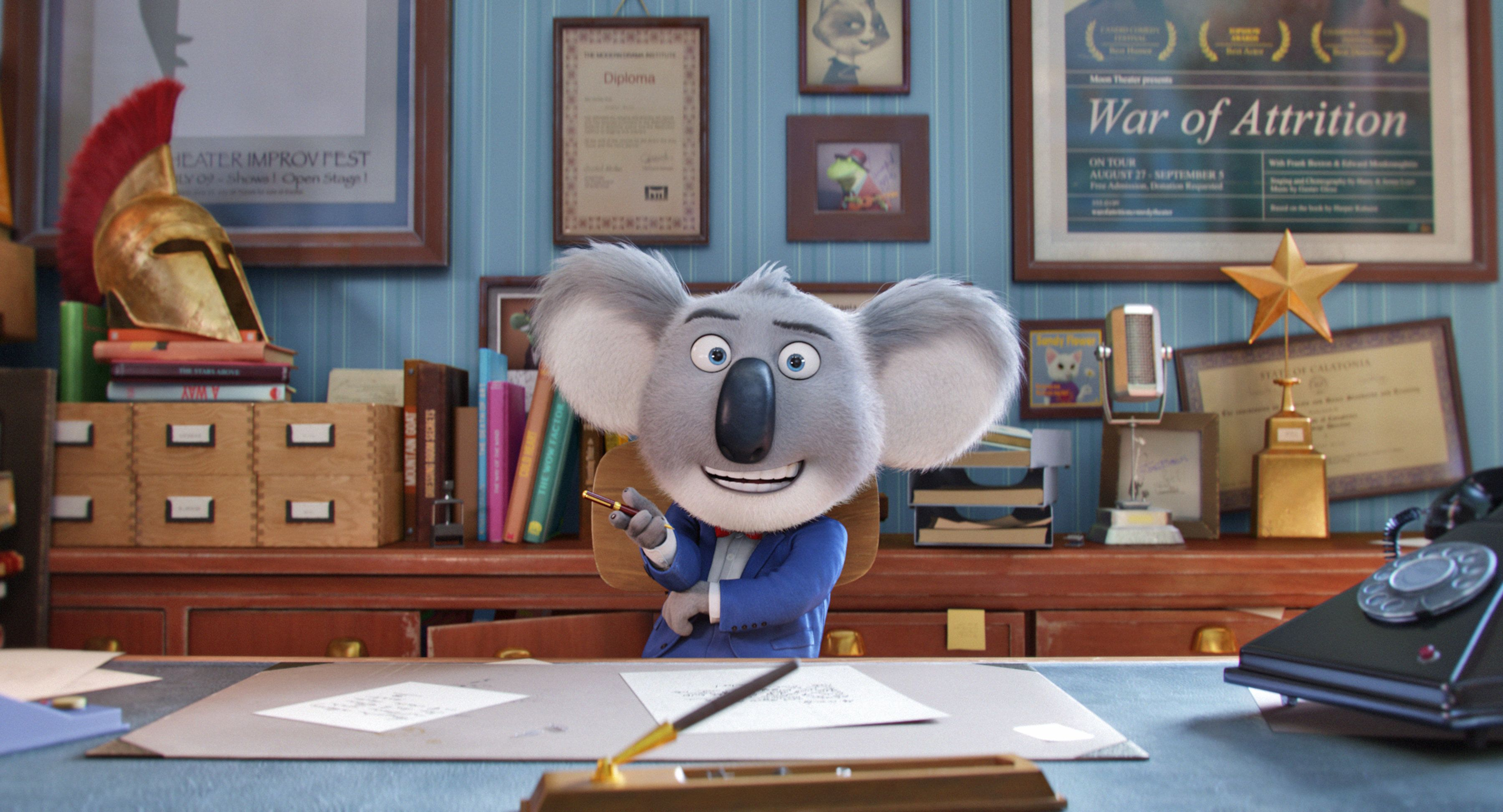 "Academy Award� winner MATTHEW MCCONAUGHEY stars as dapper koala Buster Moon�whose charm and passion are utterly contagious�in the event film ""Sing,"" from Illumination Entertainment and Universal Pictures."