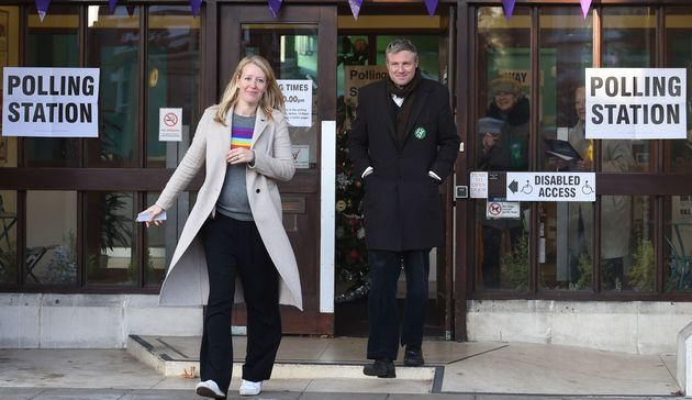 Zac Goldsmith with his wife Alice after voting at a polling station in Richmond