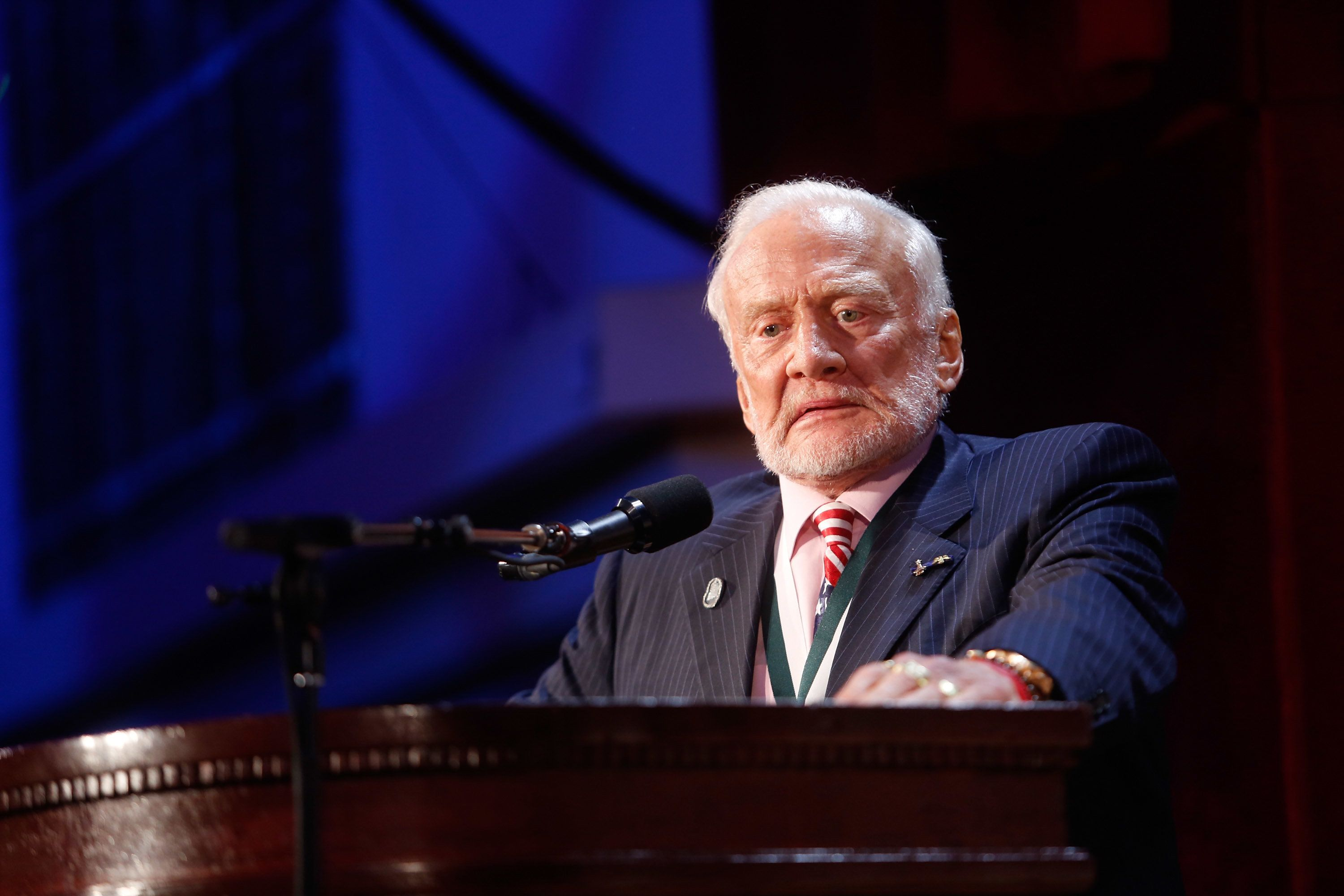 NEW YORK, NY - SEPTEMBER 12:  The Great American Icon Award recipient Buzz Aldrin speaks onstage during the 31th Annual Great Sports Legends Dinner to benefit The Buoniconti Fund to Cure Paralysis at The Waldorf Astoria Hotel on September 12, 2016 in New York City.  (Photo by Thos Robinson/Getty Images for The Buoniconti Fund)