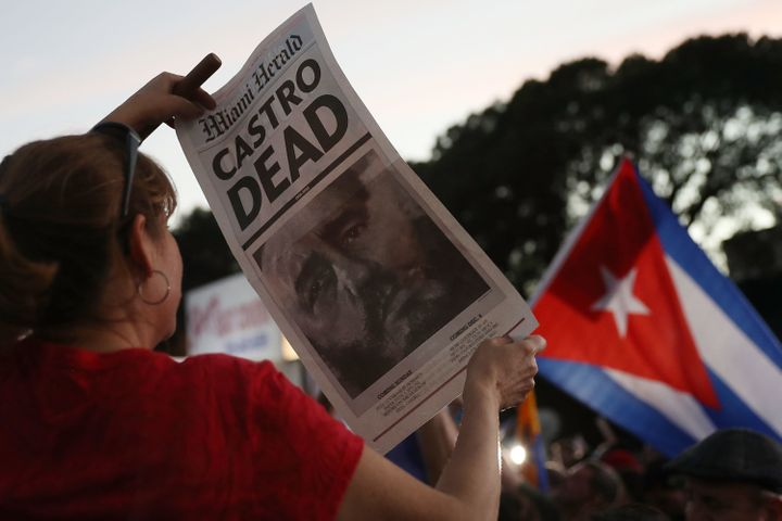 People celebrate the news of Castro's death in Miami on Nov. 26.