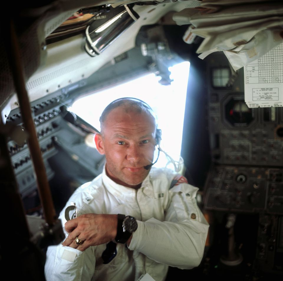 A portrait of Buzz Aldrin aboard the Lunar Module Eagle on the lunar surface just after the first moon walk.