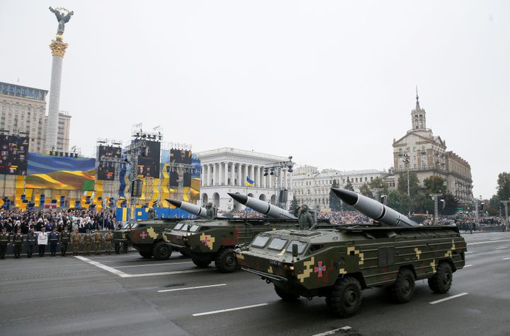 Ukrainian OTR-21 Tochka-U mobile missile launch systems drive during Ukraine's Independence Day military parade in central Ki