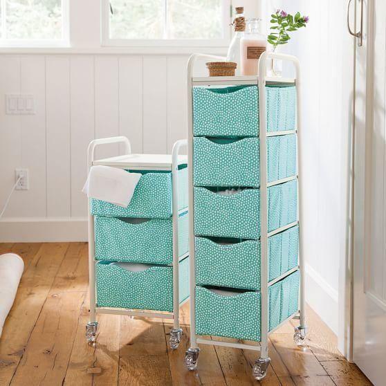 "Mini Dot Ready-To-Roll Storage Cart, $109, <a href=""http://www.pbteen.com/products/mini-dot-ready-to-roll-storage-cart/?pkey="