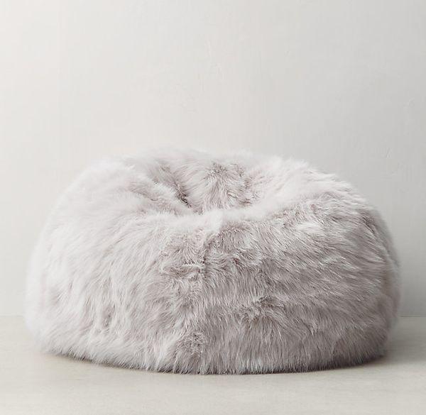"Kashmir Faux Fur Bean Bag, $189, <a href=""https://www.rhteen.com/catalog/product/product.jsp?productId=rhtn_prod101495&ca"