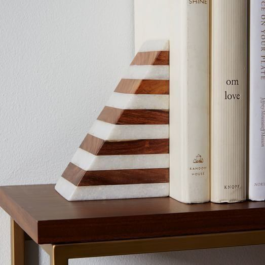 """Striped Marble & Wood Bookend, $49, <a href=""""http://www.westelm.com/products/striped-marble-wood-bookend-d2829/?pkey=e%7C"""