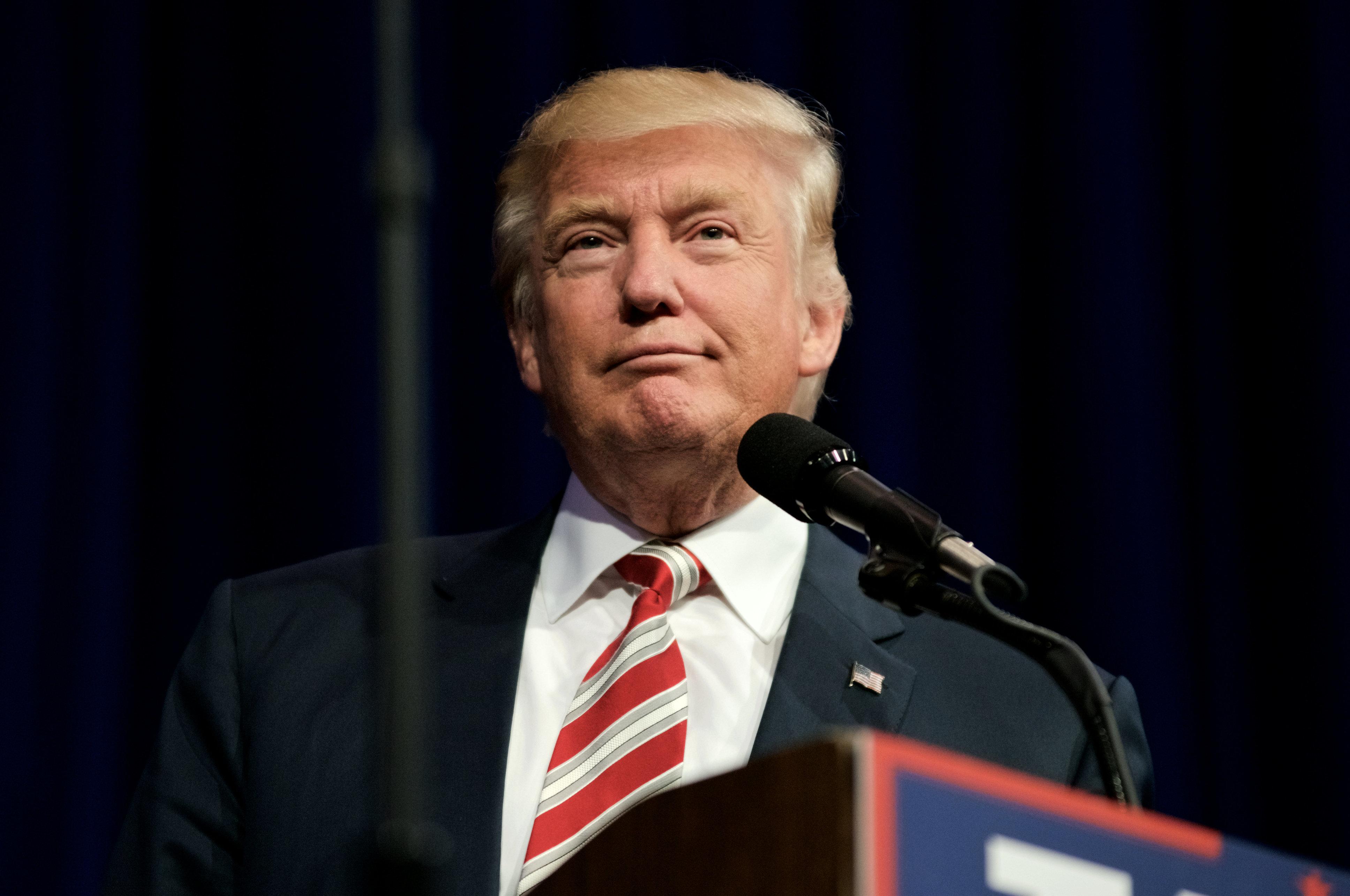 Aston, PA, USA - September 22, 2016: Republican presidential nominee Donald Trump delivers a speech at a rally in Aston, Pennsylvania.