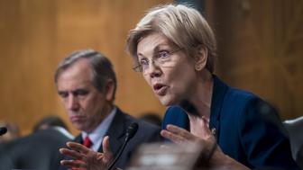 Senator Elizabeth Warren, a Democrat from Massachusetts, questions John Stumpf, chief executive officer of Wells Fargo & Co., not pictured, during the Senate Committee on Banking, Housing, and Urban Affairs in Washington, D.C., U.S., on Tuesday, Sept. 20, 2016. Stumpf, struggling to quell public rancor after the bank's employees opened unauthorized accounts for legions of customers, said the company has expanded its review of the matter to include 2009 and 2010. Photographer: Pete Marovich/Bloomberg via Getty Images