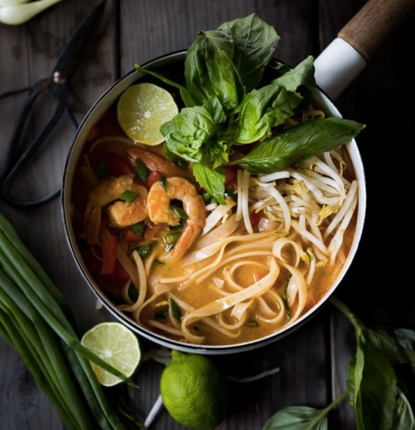 "<strong>Get the <a href=""http://www.feastingathome.com/thai-coconut-noodle-soup-khao-soi/"" target=""_blank"">15-Minute Thai Coc"