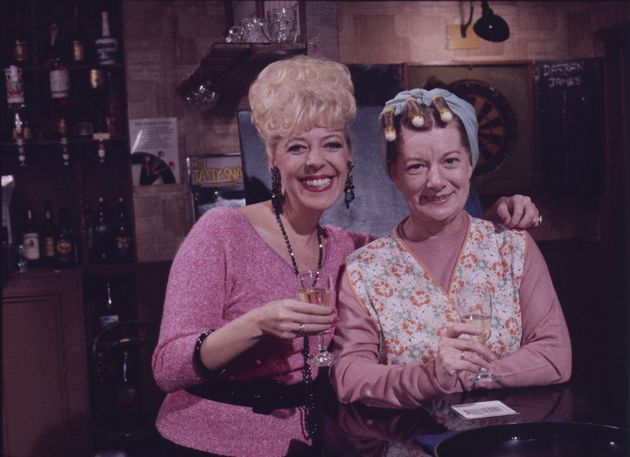 In character with Julie Goodyear, as Hilda and