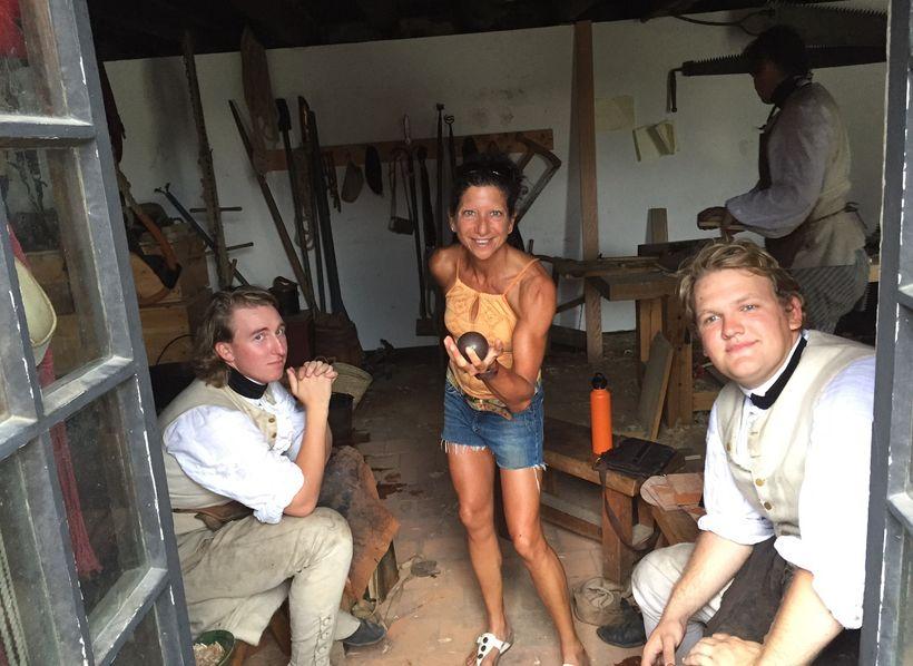 Me (Stefani Jackenthal) holding cannon ball