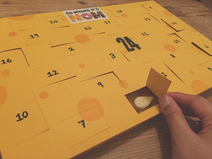 A close up of thecheese advent calendar.