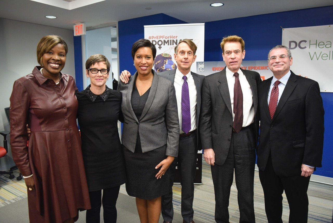 From left to right, Dr. LaQuandra Nesbitt, Nancy Mahon, D.C. Mayor Muriel Bowser, Channing Wickham, Walter Smith and Michael