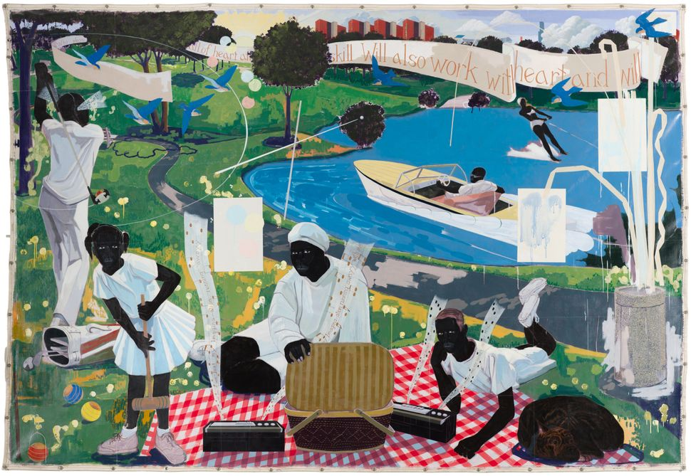 "Kerry James Marshall, ""Past Times,"" 1997, Acrylic and collage on canvas, 9 ft. 6 in. × 13 ft. Metropolitan Pier and Exh"