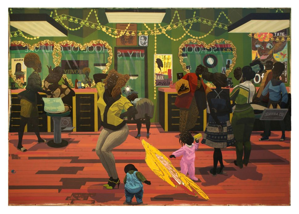 "Kerry James Marshall. ""School of Beauty, School of Culture,"" 2012. Acrylic and glitter on canvas. 8 ft. 11 7/8 in. × 13"