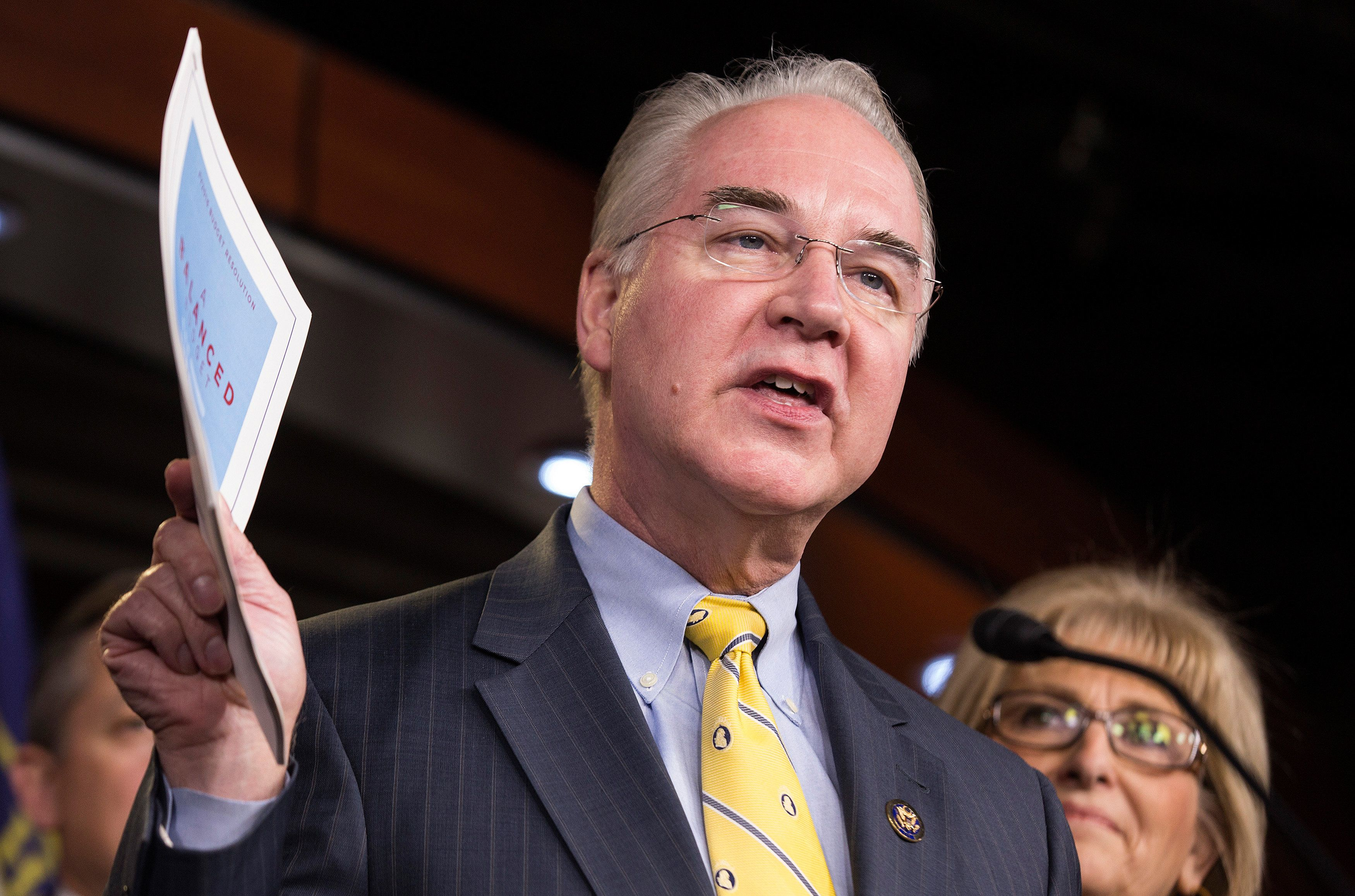 Chairman of the House Budget Committee Tom Price (R-GA) announces the House Budget during a press conference on Capitol Hill in Washington on March 17, 2015.      REUTERS/Joshua Roberts/File Photo