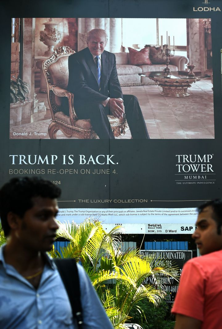 A billboard for the upcoming luxury residential apartment complex Trump Tower Mumbai.
