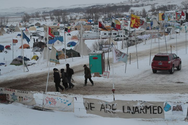 Snow covers Oceti Sakowin Camp near the Standing Rock Sioux Reservation on November 30, 2016 outside Cannon Ball, North Dakot