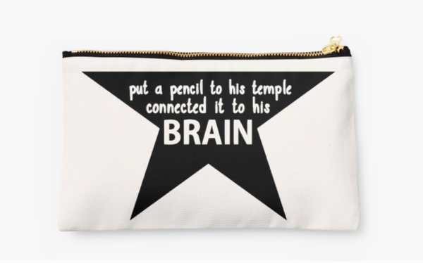 """$24.75. <a href=""""http://www.redbubble.com/people/hamilshot/works/22900473-put-a-pencil-to-his-temple?grid_pos=219&amp;p=pouch"""