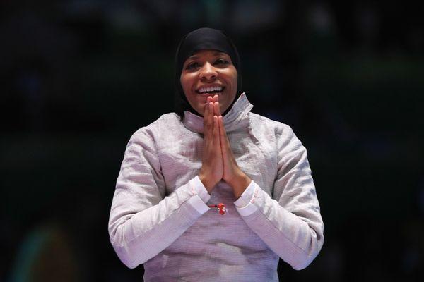 "Fencer Ibtihaj Muhammad <a href=""http://www.huffingtonpost.com/entry/ibtihaj-muhammad-no-medal-us-olympics_us_57a8a48ce4b021f"