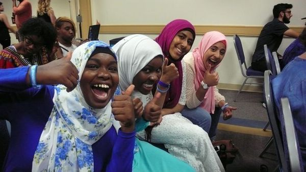 Teen poets Kiran Waqar, Balkisa Abdikadir, Hawa Adam and Lena Ginawi comprise the slam poetry quartet, <a href