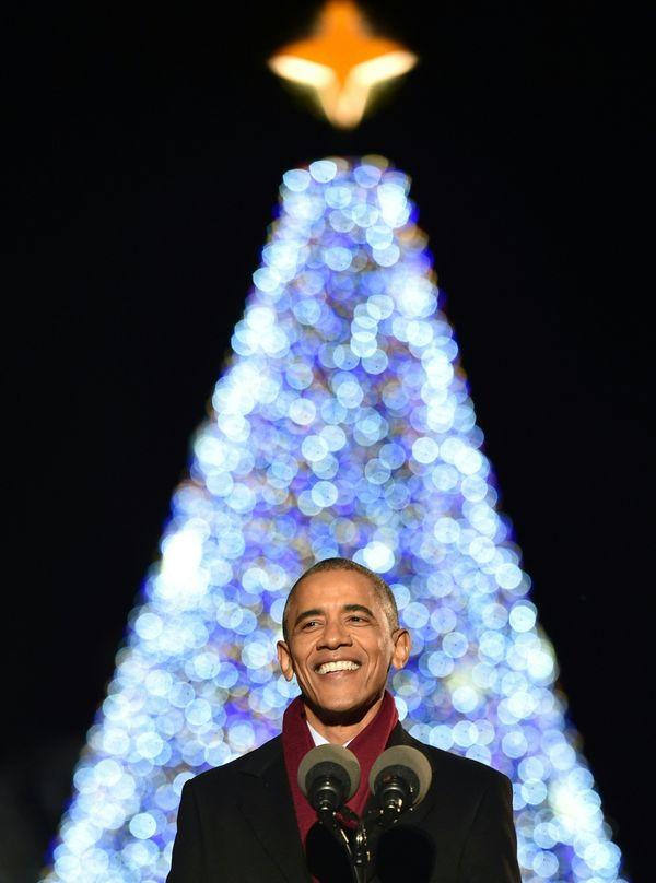 President Obama addresses the crowdduring theNational Christmas Tree Lighting.