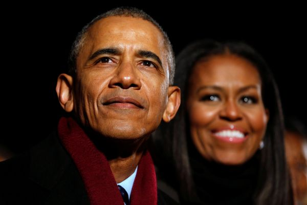 Barack andMichelle Obama at their final tree-lighting at the White House.
