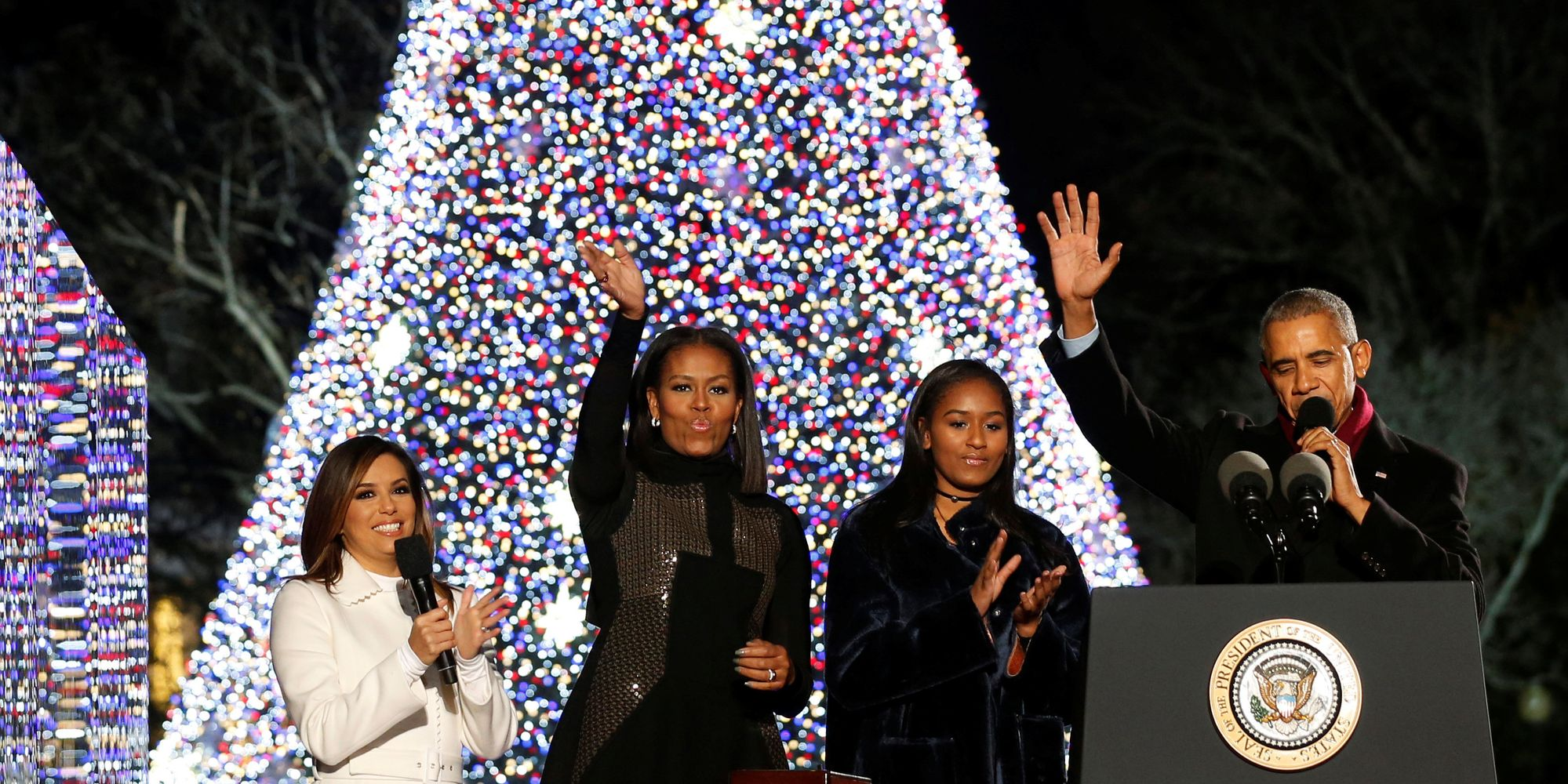 The Obamas Light Their Last Christmas Tree as the First Family