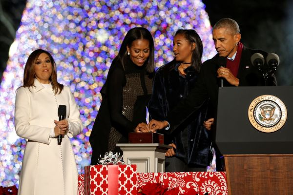 The tree lights up as the Obamaspress the button.