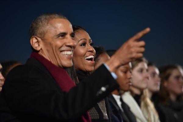 President Barack Obama and first lady Michelle Obama enjoy the celebration.