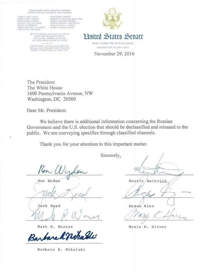 Seven members of the Senate Intelligence Committee ask President Obama to declassify information relating to the Russian gove