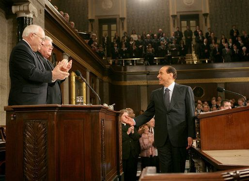 Silvio Berlusconi speaking to a joint session of Congress in March 2006