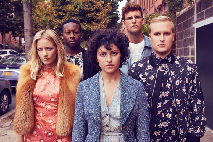 "The cast of TBS's ""Search Party (from left): Meredith Hagner, Brandon Micheal Hall, Alia Shawkat, John Reynolds and John Earl"