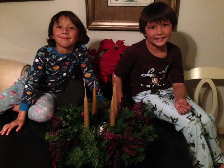<p>Longshore Boys with Homemade Advent Wreath, Ready For The Holidays</p>