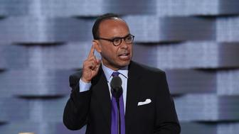 US Representative Luis Gutierrez speaks during Day 1 of the Democratic National Convention at the Wells Fargo Center in Philadelphia, Pennsylvania, July 25, 2016. / AFP / SAUL LOEB        (Photo credit should read SAUL LOEB/AFP/Getty Images)
