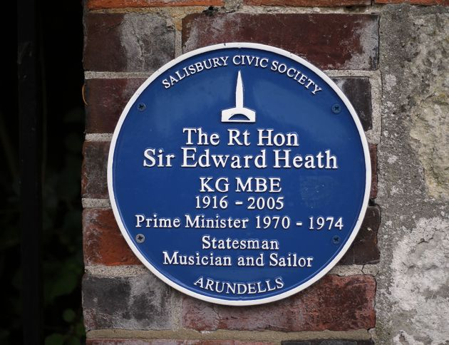 A blue plaque outside Arundells, the former home of Heath in Salisbury,