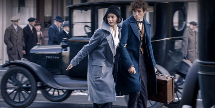 "Eddie Redmayne and Katherine Waterson in ""Fantastic Beasts."""