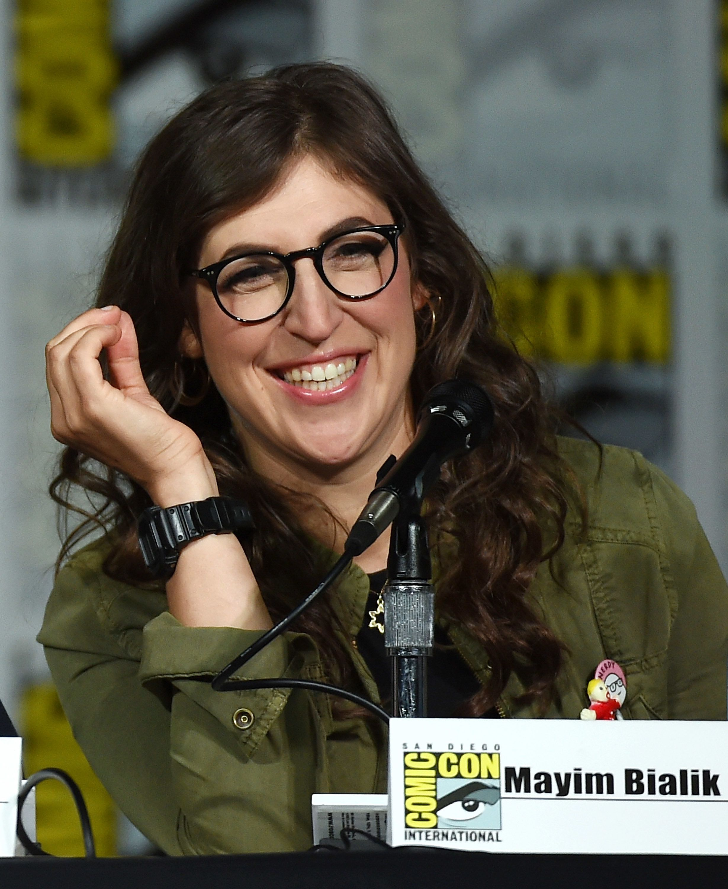 SAN DIEGO, CA - JULY 10:  Actress Mayim Bialik attends the Inside 'The Big Bang Theory' Writer's Room panel during Comic-Con International 2015 at the San Diego Convention Center on July 10, 2015 in San Diego, California.  (Photo by Ethan Miller/Getty Images)