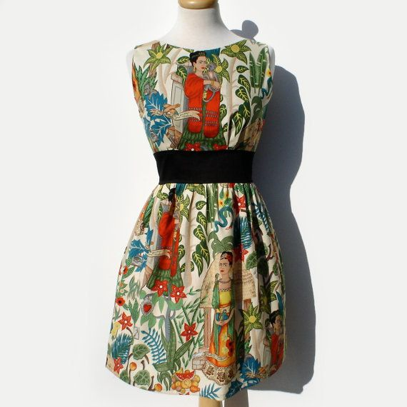"$65.95+, Vintage Galeria. <a href=""https://www.etsy.com/listing/90915349/frida-inspired-dress-50s-inspired-frida?ga_order=mos"