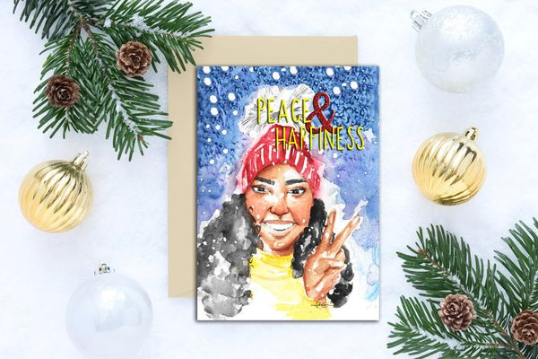 "Starting at $22.50, Tatiana Camice. <a href=""http://www.tatianacamice.com/holiday-things/peace-happiness-greeting-card"" targe"